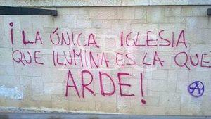 El odio contra la Iglesia se hace patente en las universidades publicas españolas. (Foto del diario ABC).