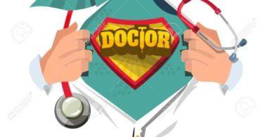 87570169 mC3A9dico con estetoscopio camisa abierta para mostrar quot doctor tipogrC3A1fico quot en estilo de dibujos an