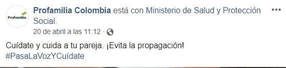 Facebook MinSalud Coronavirus Profamilia 2
