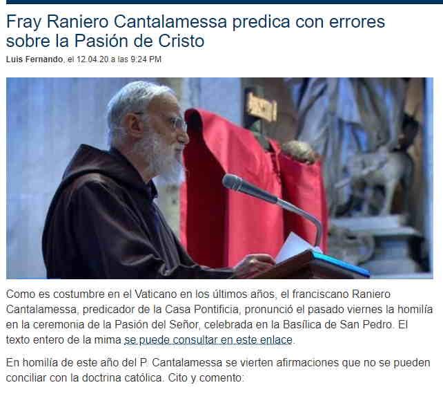 Fray Raniero Cantalamessa predica con errores