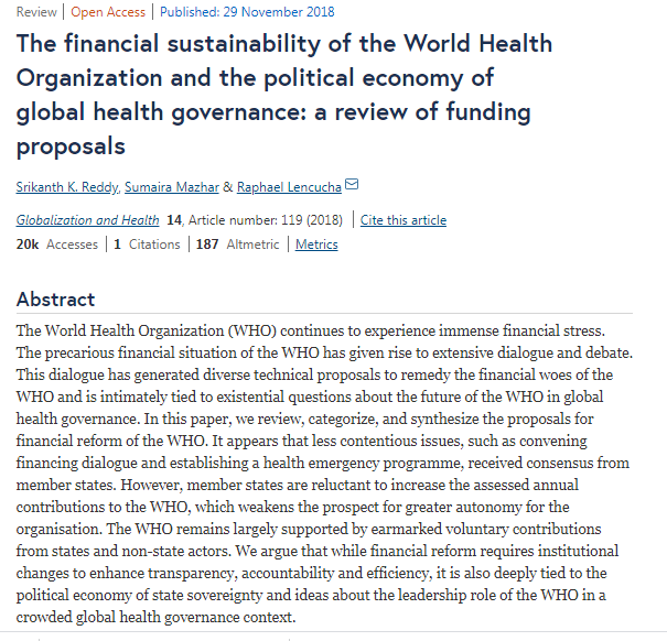 Report 2018 on WHO FINANCIAL SUSTAINABILITY