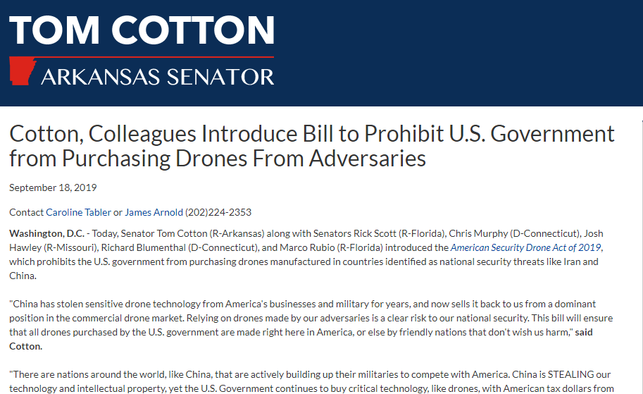 Senator Cotton on law against foreign drones
