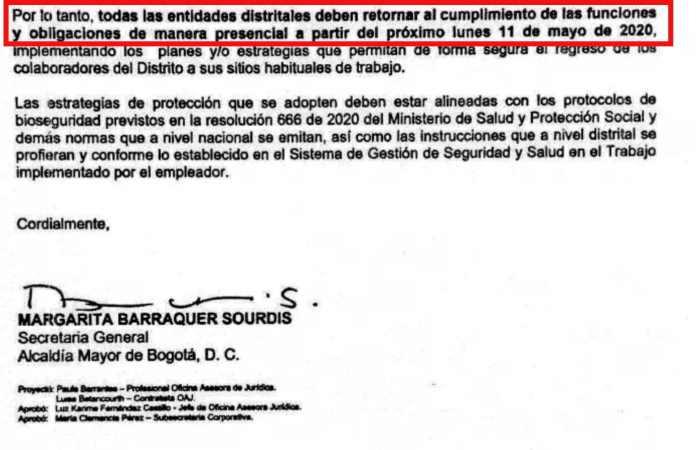 Circular 043 de 2020 Alcaldía de Bogotá