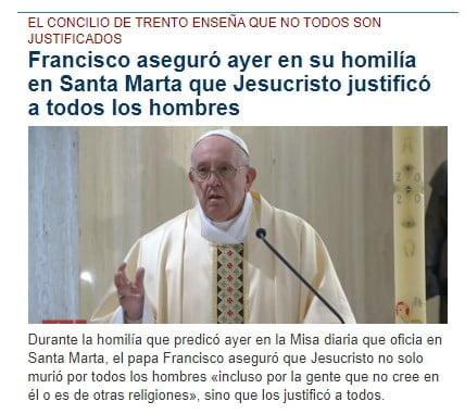 Francisco dice que todos los hombres han sido justificados 1