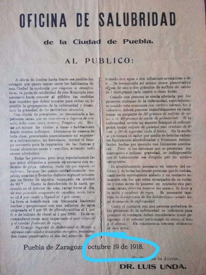Pandemia hace 100 años