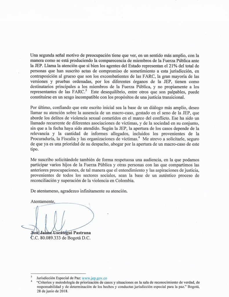 Carta abierta al Procurador 2 José Uscátegui
