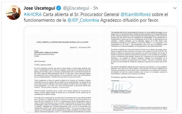 Carta abierta al Procurador Trino José Uscátegui