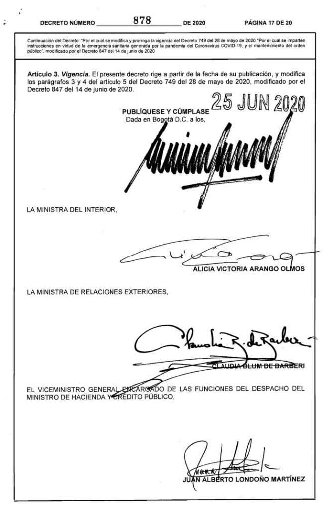 Decreto 878 del 25 de junio de 2020 primera página de firmas