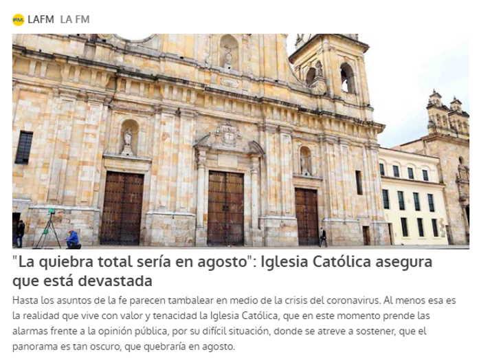 Quiebra económica de la Iglesia Colombiana