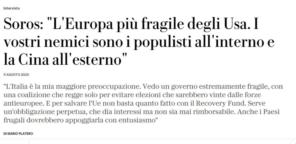 Italian newspaper interviews Soros