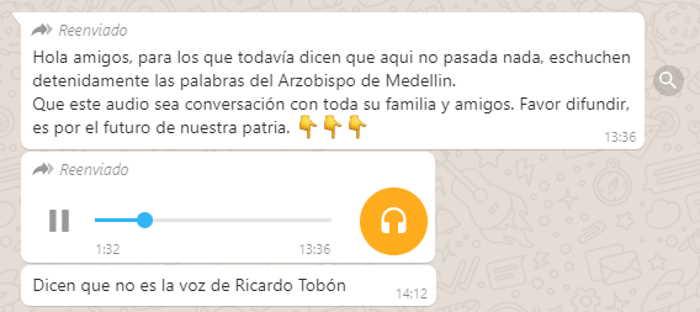 Audio atribuido falsamente al Arzobispo de Medellin